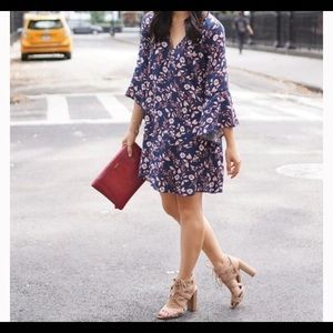 Lush Bell-Sleeve Floral Mini Dress